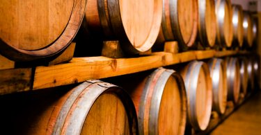 Imported oak barrels in which the wine matures at Stellekaya.